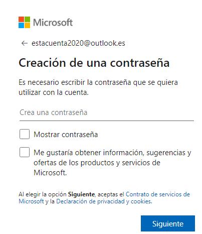 Como debo crear mi correo electrónico gratis.. Crea tu contraseña, ingreso de contraseña para crear tu cuenta de correo Outlook.